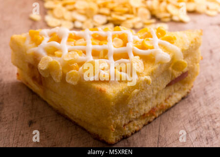 Corn sandwich, on the dining table. - Stock Photo