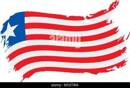 Liberia flag, vector illustration - Stock Photo