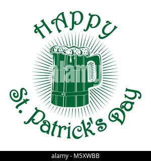 Wooden mug with beer. Wooden beer mug isolated logo. Happy St. Patricks Day. Beer label. Beer mug icon isolated - Stock Photo
