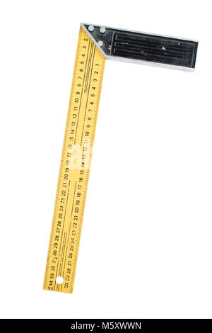 Used metal ruler with angle bar, set square, isolated on a white background. Path saved, cut out - Stock Photo