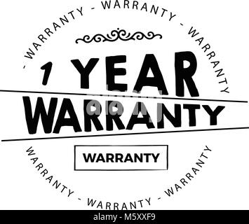 1 years warranty icon vintage rubber stamp guarantee - Stock Photo