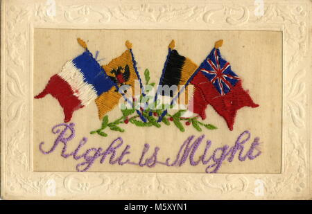 AJAXNETPHOTO. 1914-1918. WW1 EPHEMERA. - A SILK EMBROIDERED LETTER CARD DEPICTING NATIONAL FLAGS OF THE NATIONS - Stock Photo