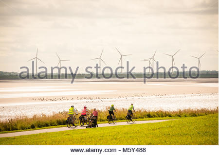 Pickering's Pasture, cyclists, pedestrians,dog walkers & a wheelchair user share the footpath at the popular local - Stock Photo