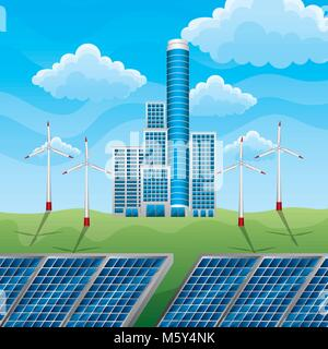 Solar Panels Wind Turbines Nuclear Cooling Towers And High