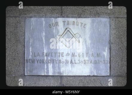 Masons, Lafayette Lodge No. 64, New York Level: 160-ft Donor: Masons, Lafayette Lodge No. 64, New York Dates: 1853/1885 - Stock Photo