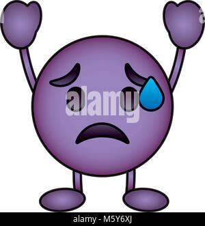 purple emoticon cartoon face depressive character - Stock Photo