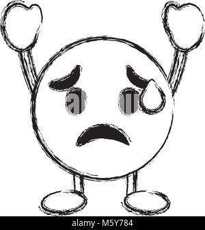 emoticon cartoon face depressive character - Stock Photo