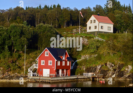 Country houses in Sognefjorden, Norway - Stock Photo