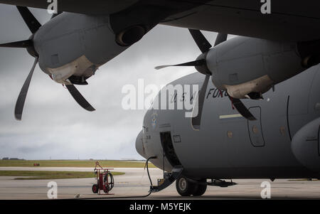 A U.S. Air Force C-130J Super Hercules assigned to the 36th Airlift Squadron sits on the flightline during exercise - Stock Photo