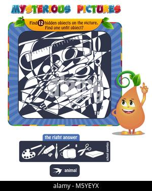 educational game for kids, puzzle. development of logic, iq. Task game Find 12 hidden objects on the picture. - Stock Photo