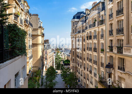 View of modern residential buildings on Montmartre in Paris, France - Stock Photo