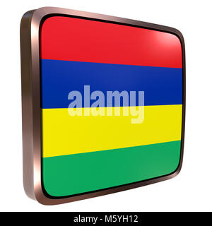 3d rendering of a Republic of Mauritius flag icon with a metallic frame. Isolated on white background. - Stock Photo
