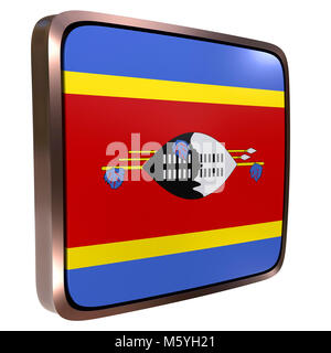 3d rendering of a Kingdom of Swaziland flag icon with a metallic frame. Isolated on white background. - Stock Photo