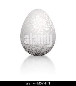 White natural color realistic egg with silver metallic floral pattern. Isolated on white background with reflection. - Stock Photo
