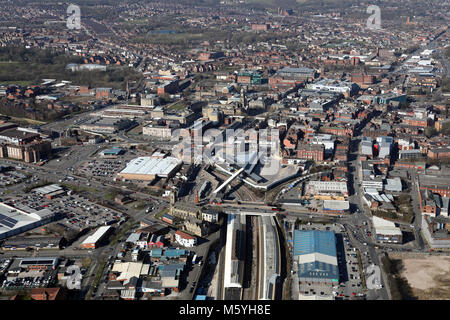 aerial view of Bolton town centre from the south, Greater Manchester, UK - Stock Photo