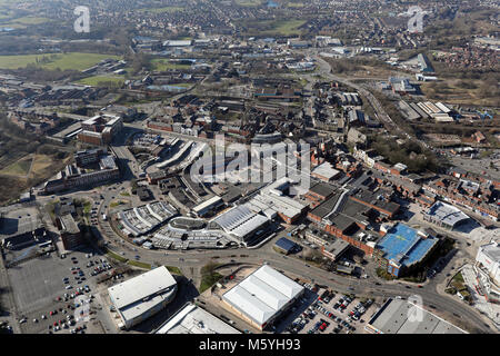 aerial view of Bury town centre, Greater Manchester, UK - Stock Photo