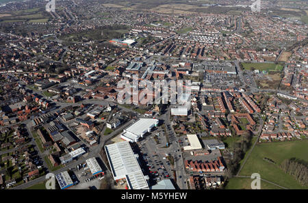 aerial view of Sutton in Ashfield town centre, Nottinghamshire, UK - Stock Photo