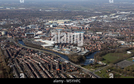 aerial view of Warrington town centre, Cheshire, UK - Stock Photo