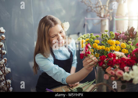 happy florist putting fresh mimosas in water - Stock Photo