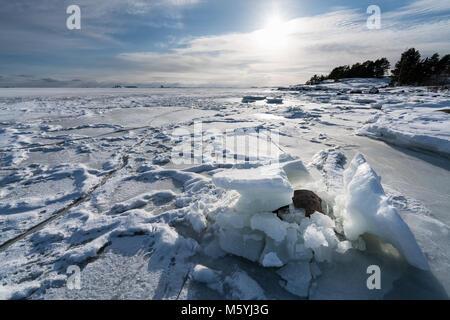 Beautiful winter day on sea ice in Espoo, Finland, Europe, EU - Stock Photo