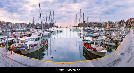 Piraeus Marina in the morning, Athens, Greece - Stock Photo