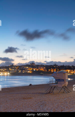 Bondi Beach at sunset, Sydney, New South Wales, Australia - Stock Photo
