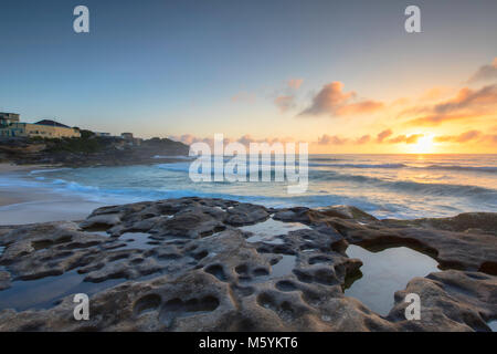 Tamarama Beach at sunrise, Sydney, New South Wales, Australia - Stock Photo