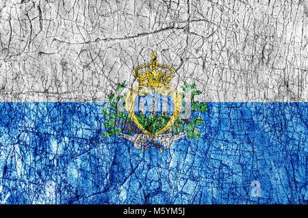Grudge stone painted  San Marino flag - Stock Photo