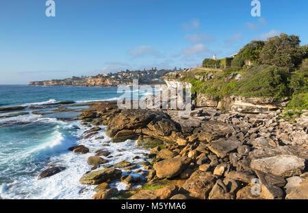 Coastline of Bondi to Bronte walk, Sydney, New South Wales, Australia - Stock Photo