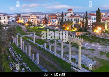 Night Roman Agora in Athens, Greece - Stock Photo