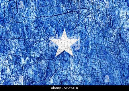 Grudge stone painted  Somalia flag - Stock Photo