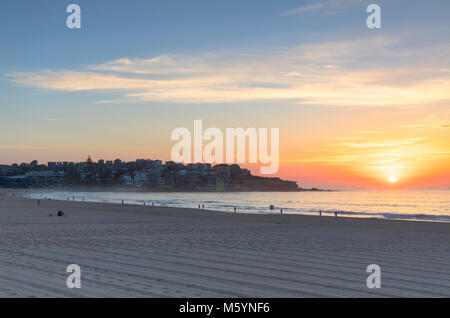 Bondi Beach at sunrise, Sydney, New South Wales, Australia - Stock Photo