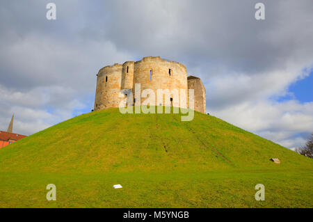 Cliffords Tower York Yorkshire tourist attraction medieval castle - Stock Photo