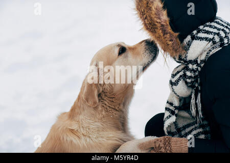Photo of labrador giving paw to woman in black jacket on winter - Stock Photo