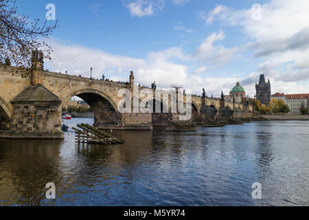 Prague, Czech Republic - October, 6, 2017: Charles Bridge, UNESCO World Heritage Site, pedestrian bridge over the - Stock Photo