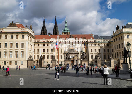 Prague, Czech Republic - October, 6, 2017: Entrance gate of Prague castle seen from  Hradcany Square with three - Stock Photo
