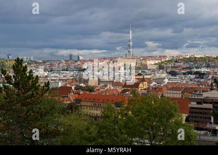 Prague, Czech Republic - October 8, 2017: Zizkov Television tower above the city horizon in autumn - Stock Photo