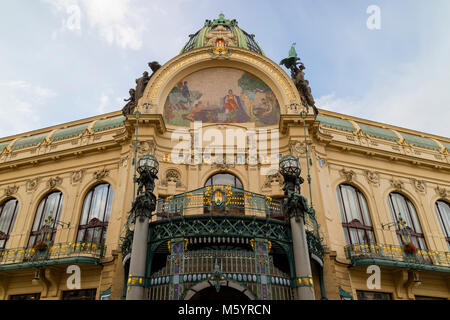 Prague, Czech Republic - October 9, 2017: The Art Nouveau building Municipal House in Prague with gold trimmings, - Stock Photo