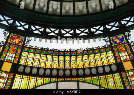 Prague, Czech Republic - October 9, 2017: The Art Nouveau stained glass facade of the Municipal House in Prague - Stock Photo