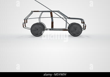 A traditional south african handmade wire toy car made out of metal and copper wire with tin cans as wheels on an - Stock Photo