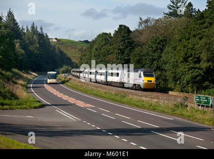 An East coast intercity 125 near Haltwhistle, in the Tyne valley with a diverted Aberdeen - Kings train when the - Stock Photo