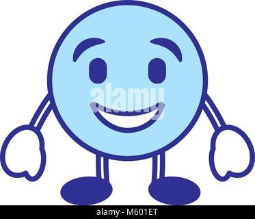 emoticon cartoon face happy character blue - Stock Photo