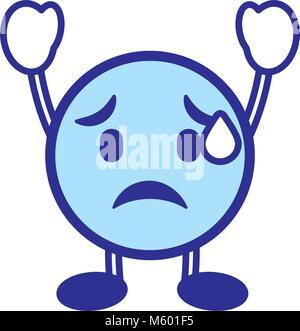 emoticon cartoon face depressive character blue - Stock Photo