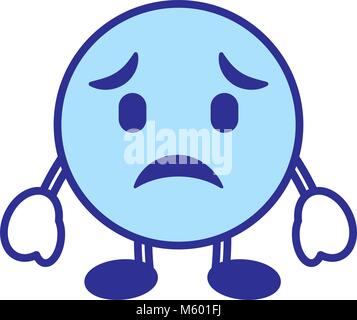 emoticon cartoon face sad character blue - Stock Photo