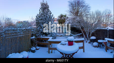 Urban Back Garden After Night of Heavy Snow - Stock Photo