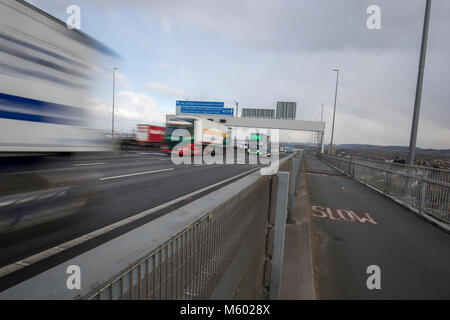 traffic on the m5 motorway.. a overhead gantry shows