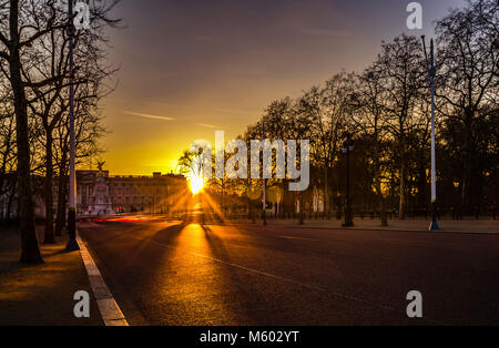 Buckingham Palace at Sunset from The Mall, London, UK - Stock Photo