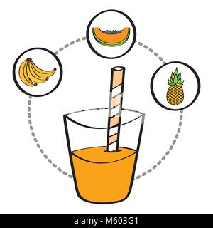 fresh smoothie juice drink fruit banana pineapple papaya - Stock Photo