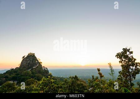 Mount Popa: Mount Popa (Popa Taung Kalat) pilgrimage site, Nat temples, relic sites atop the mountain, , Mandalay - Stock Photo