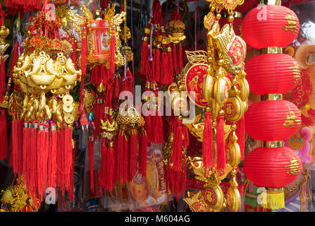 Lantern stall with colourful chinese lanterns, Phnom Penh, Cambodia, Asia - Stock Photo